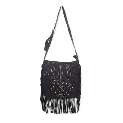Leather shoulder bag, 'Black Java Stars' - Constellation Motif Leather Shoulder Bag in Black from Bali