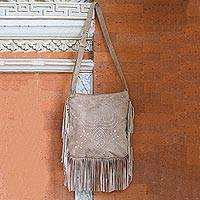 Suede shoulder bag, 'Taupe Java Stars' - Fringed Leather Shoulder Bag in Taupe from Bali