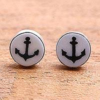 Bone stud earrings, 'Black Anchor' - Anchor Motif Bone Stud Earrings from Bali