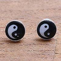 Bone stud earrings, 'Cosmic Balance' - Yin and Yang Bone Stud Earrings from Bali