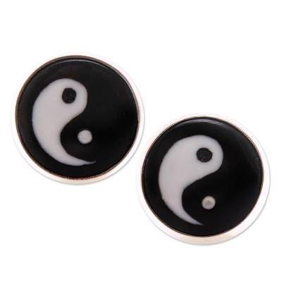 Bone stud earrings, 'Cosmic Balance' - Yin and Yang Bone Stud Earrings from Bali