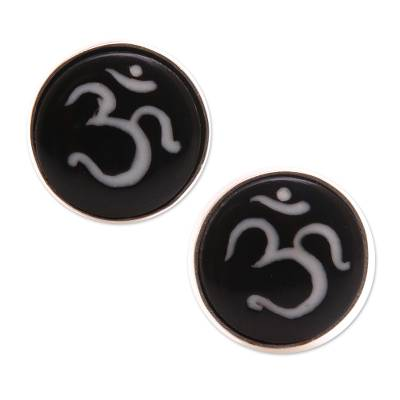 Bone stud earrings, 'Word of Om' - Om Motif Bone Stud Earrings Crafted in Bali