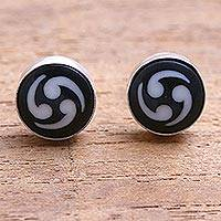 Bone stud earrings, 'Tribal Wonder' - Black and White Bone Stud Earrings from Bali