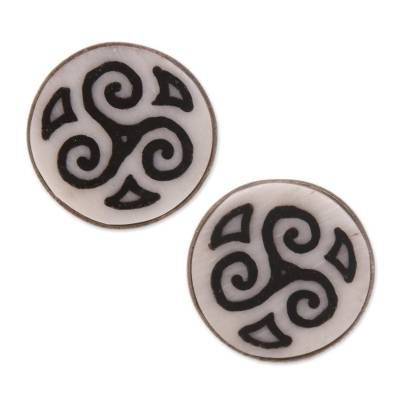 Bone stud earrings, 'Tribal Symmetry' - Spiral Motif Bone Stud Earrings from Bali