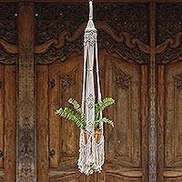 Cotton flower pot hanger, 'Tegalalang Plants' - Handwoven Single Cotton Flower Pot Hanger from Bali