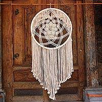 Cotton wall hanging, 'Dream Knot' - Circular Cotton Wall Hanging in Antique White from Bali