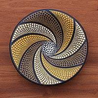 Ceramic decorative bowl, 'Spiral Delight' - Spiral Motif Ceramic Decorative Bowl Crafted in Bali