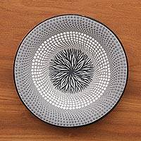 Ceramic decorative bowl, 'Grey Roots' - Hand-Painted Ceramic Decorative Bowl in Grey from Bali
