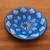 Ceramic decorative bowl, 'Blue Symmetry' - Hand-Painted Ceramic Decorative Bowl in Blue from Bali (image 2b) thumbail