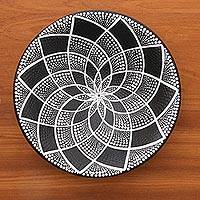 Ceramic decorative bowl, 'Symmetrical Design' - Ceramic Decorative Bowl in Black and White from Bali