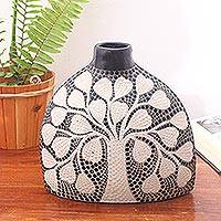 Ceramic decorative vase, 'Tree of Love' - Tree Motif Ceramic Decorative Vase Crafted in Bali