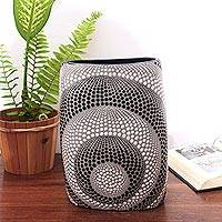 Ceramic decorative vase, 'Concentric Dots' - Cylindrical Black and White Ceramic Decorative Vase
