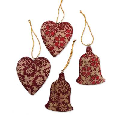 Batik Wood Heart and Bell Ornaments from Java (Set of 4)