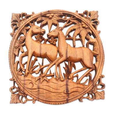 Wood relief panel, 'Deer Romance' - Deer-Themed Suar Wood Relief Panel from Bali