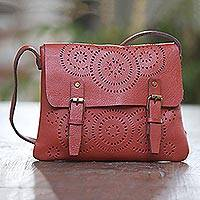 Leather sling, 'Dashing Russet' - Patterned Leather Sling in Russet from Java