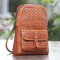 Leather backpack, 'Back to School Weave' - Woven Burnt Orange Leather Backpack from Java
