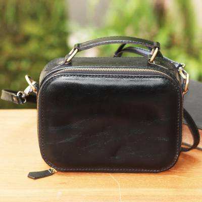 Leather handbag, 'Hidden Lurik in Black' - Black Leather Handbag with a Strap and Handle