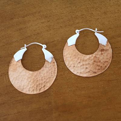 18k rose gold-plated copper hoop earrings, Radiant Reflections