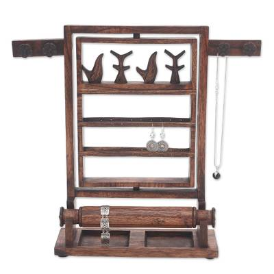 Wood jewelry stand, 'Serene Forest in Dark Brown' - Floral Jempinis Wood Jewelry Stand in Dark Brown from Bali