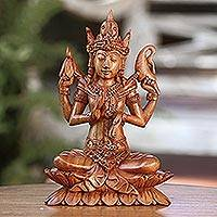 Wood sculpture, 'Praying Shiva' - Hand-Carved Suar Wood Shiva Sculpture from Indonesia