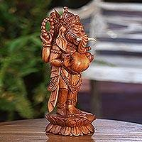 Wood sculpture, 'Glorious Ganesha'