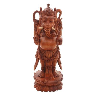 Wood sculpture, 'Glorious Ganesha' - Hand-Carved Suar Wood Ganesha Sculpture from Indonesia