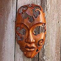 Wood mask, 'Nature's Portrait' - Hand-Carved Swirl Motif Suar Wood Mask from Indonesia
