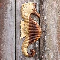 Wood wall sculpture, 'Loyal Seahorse' - Hand-Carved Wood Seahorse Wall Sculpture from Bali