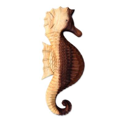 Hand-Carved Wood Seahorse Wall Sculpture from Bali