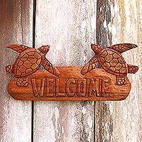 Wood wall sign, 'Turtle Home' - Turtle-Themed Suar Wood Wall Welcome Sign from Bali