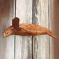 Wood wall sculpture, 'Turtle Current' - Hand-Carved Wood Sea Turtle Wall Sculpture from Bali