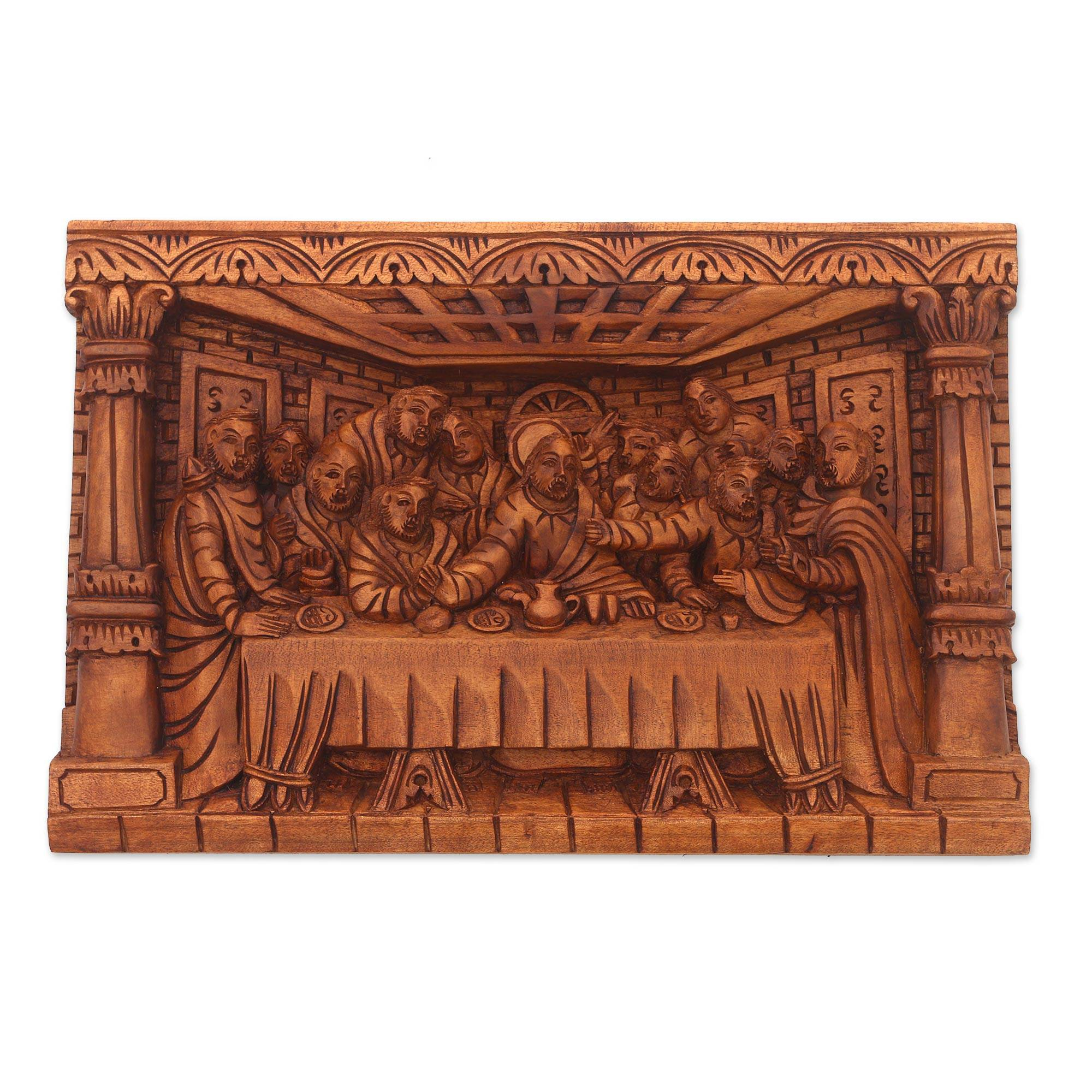 Hand carved last supper wood relief panel from bali last dinner