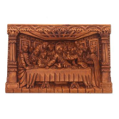 Wood relief panel, 'Last Dinner' - Hand-Carved Last Supper Wood Relief Panel from Bali