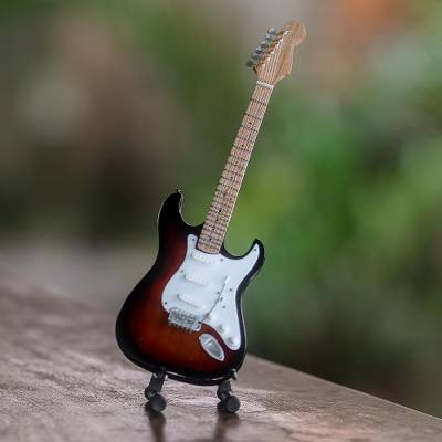 Wood decorative miniature guitar, 'Electric Guitar in Brown' - Wood Decorative Miniature Guitar in Brown from Java
