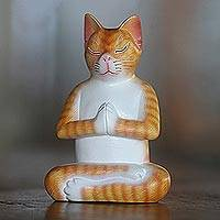 Wood sculpture, 'Meditation Cat in Orange' - Signed Wood Sculpture of a Meditating Cat in Orange