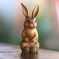 Wood sculpture, 'Cute Bunny in Brown'