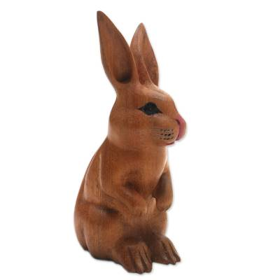 Wood sculpture, 'Cute Bunny in Brown' - Signed Wood Bunny Sculpture in Brown from Bali