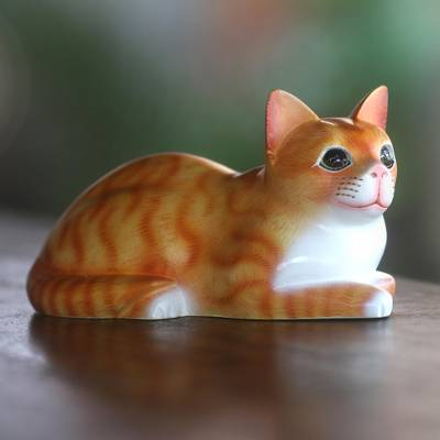 Wood sculpture, 'Lying Cat in Orange' - Signed Wood Sculpture of a Lying Cat in Orange from Bali