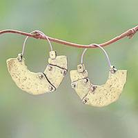 Brass hoop earrings, 'Modern Bali' - Modern Brass Hoop Earrings from Bali
