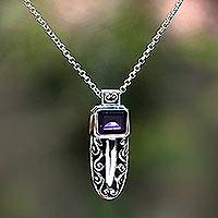 Amethyst pendant necklace, 'Glittering Mystique' - Faceted Amethyst Pendant Necklace from Bali