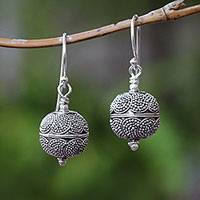 Sterling silver dangle earrings, 'Sky Lanterns' - Dot Motif Sterling Silver Dangle Earrings from Bali