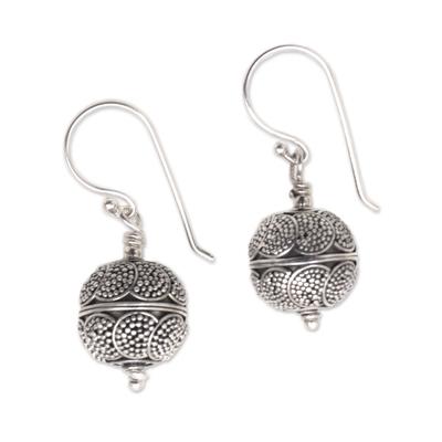 Sterling silver dangle earrings, 'Sky Lanterns' - Dot Motif Sterling Silver Dangle Earrings from Bali