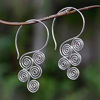 Sterling silver drop earrings, 'Stylized Clouds' - Spiral Motif Sterling Silver Drop Earrings from Bali