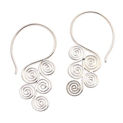 Sterling silver drop earrings, 'Stylized Clouds' - Spiral Motif Sterling Silver Drop Earrings from Bali