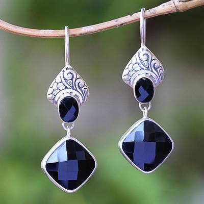 Onyx dangle earrings, 'Midnight Vision' - 5-Carat Onyx Dangle Earrings Crafted in Bali