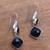 Onyx dangle earrings, 'Midnight Vision' - 5-Carat Onyx Dangle Earrings Crafted in Bali (image 2b) thumbail