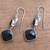 Onyx dangle earrings, 'Midnight Vision' - 5-Carat Onyx Dangle Earrings Crafted in Bali (image 2c) thumbail