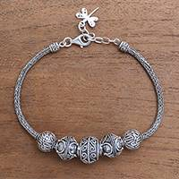 Sterling silver pendant bracelet, 'Family Gathering' - Handcrafted Sterling Silver Pendant Bracelet from Bali
