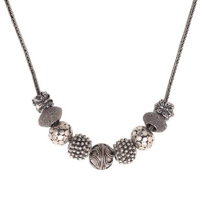 Sterling silver pendant necklace, 'Round Lanterns' - Sterling Silver Beaded Pendant Necklace from Bali