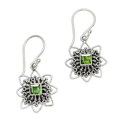 Floral Peridot Dangle Earrings Crafted in Bali